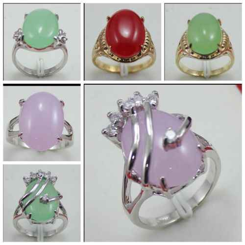 Pretty Women  natural Jadeite Beads Jewelry Ring Size 7 8 9