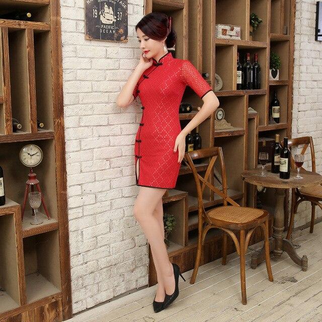 New Sexy Red Handmade Button Lace Mandarin Collar Cheongsam Chinese Classic  Print Qipao Flower Elegant Short Dress S-XXL LGD66-C 59c3e7f46162