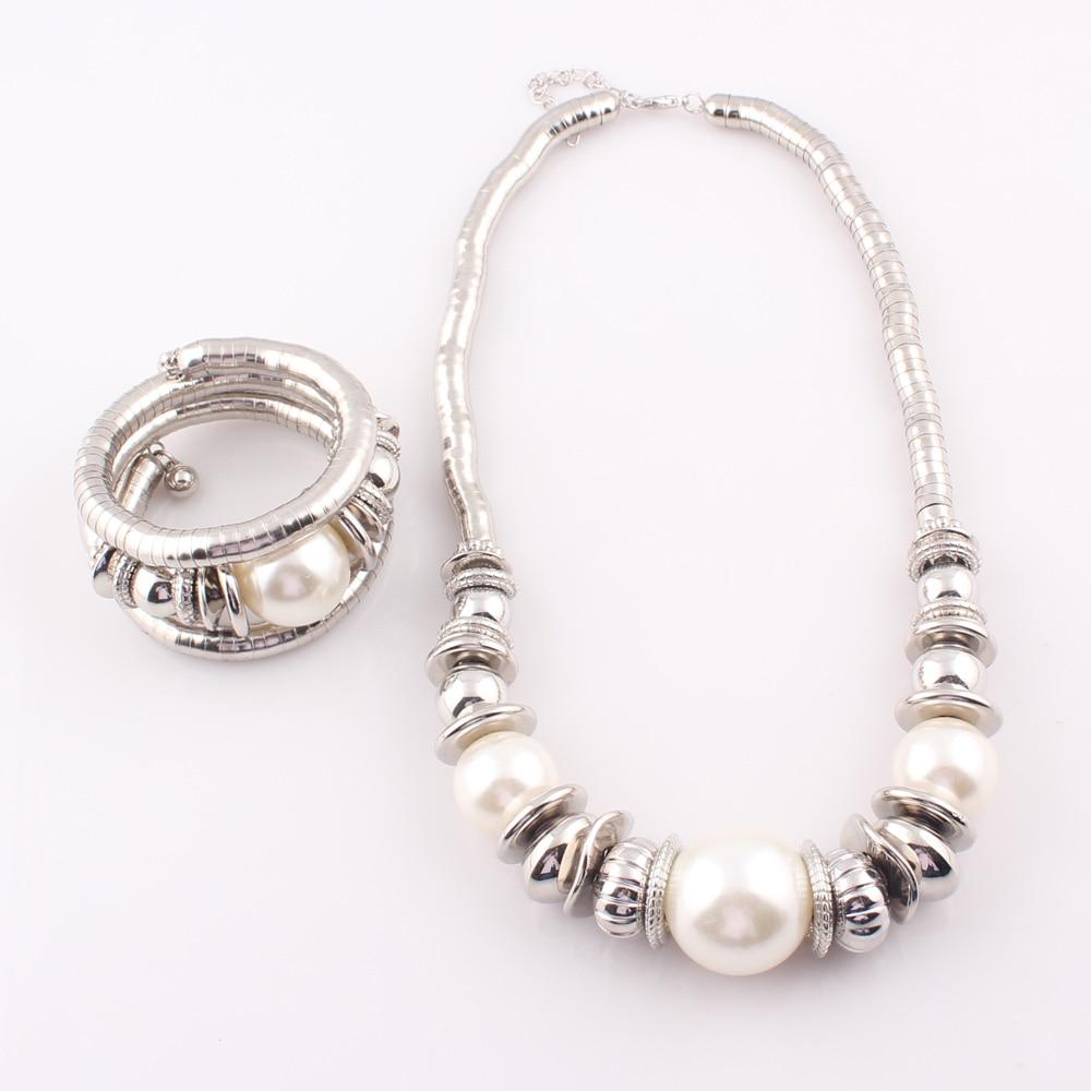 2017 mujeres de la moda simulada perla serpiente collares pulseras - Bisutería - foto 6