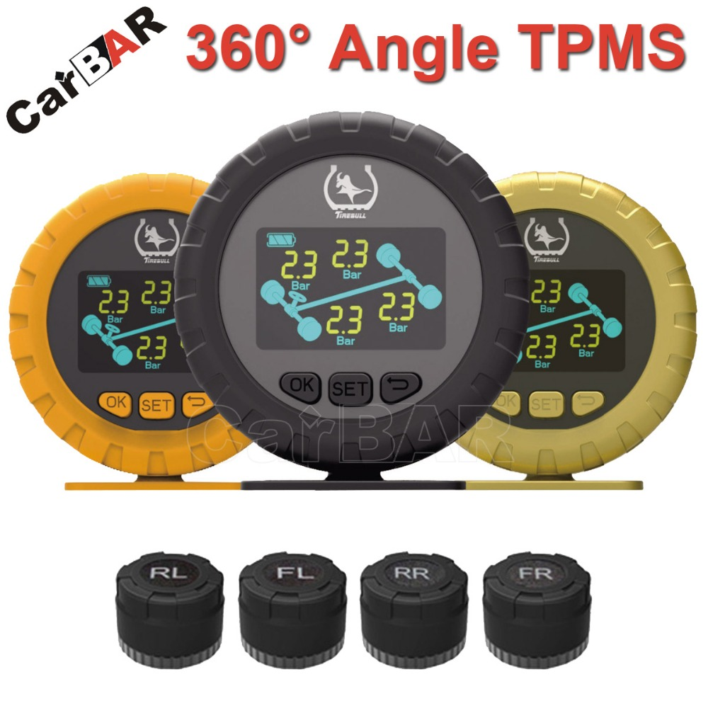 360 Degree Angle Color Screen Display TPMS with External Sensor Support High Low Pressure Temperature Fast Leakage Alarm CARBAR