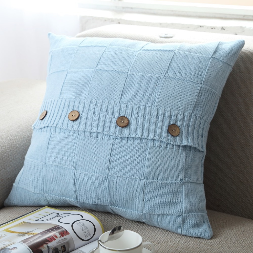 2015 Hot sale Knitted cushion / Knitted pillow cover plaid pattern ...