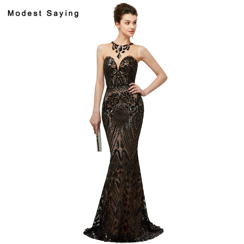 Luxury Black Sexy Sheer Mermaid Floral font b Sequins b font Lace Evening font b Dresses