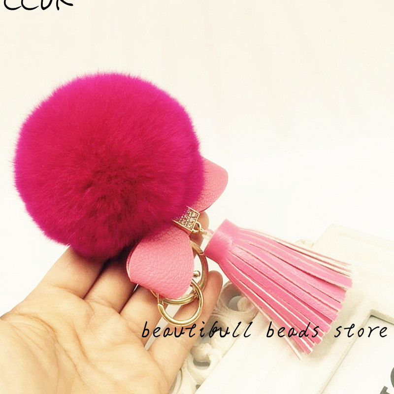 CCOR NEW Rabbit Fur Fluffy keychain Leather Bow Tie Tassel keychain car bag accessories,1pcs,MQ0043