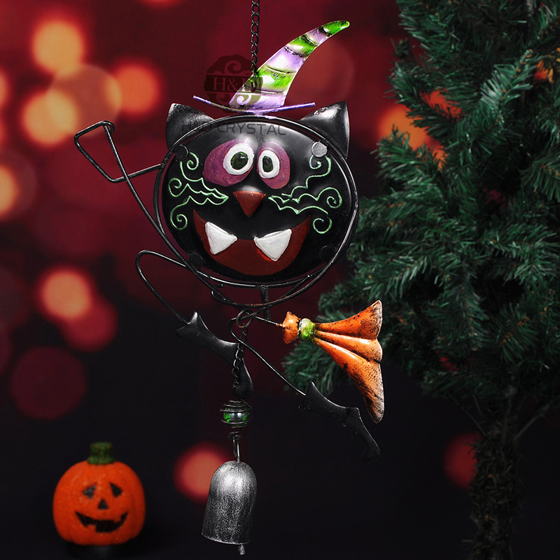 black cat halloween magician metal one bell suncatcher wind chimes hanging gift crafts outdoor home decoration in wind chimes hanging decorations from