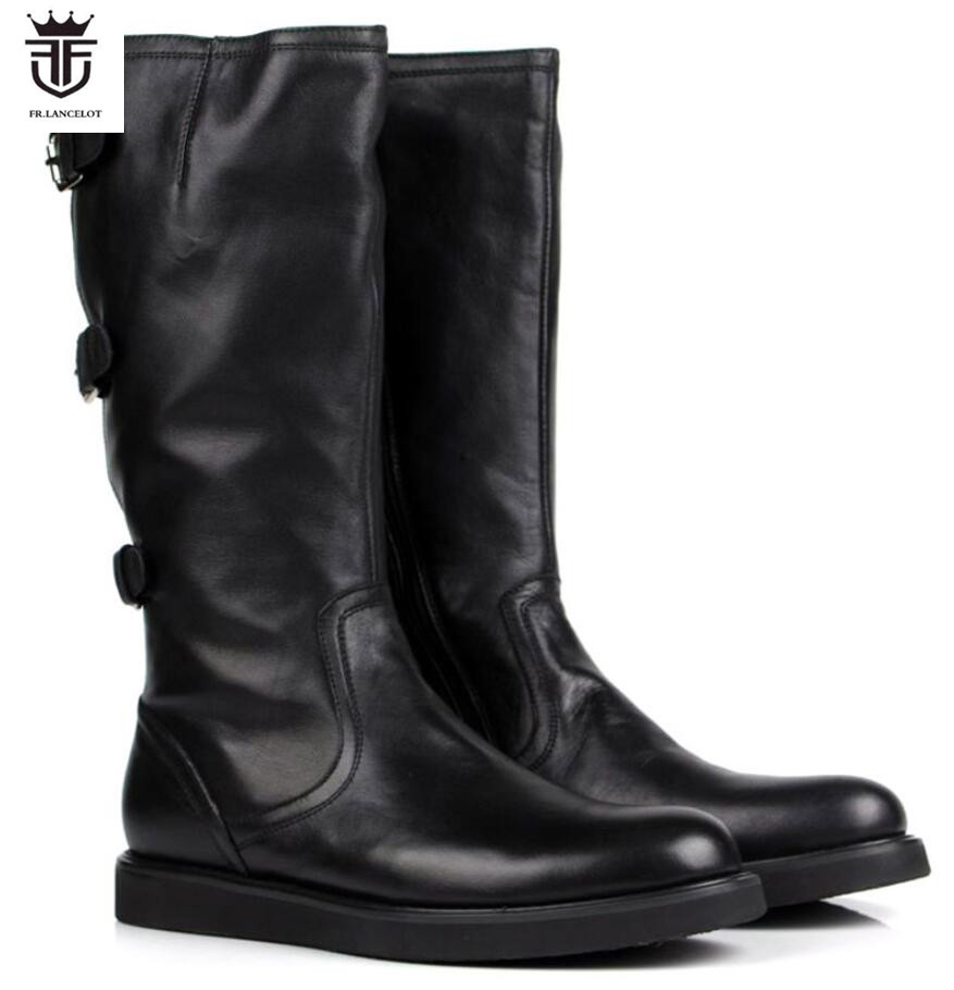 Botas Corta Zapatos Negro 2019 Los Cremallera Hombres Real Plano Fr Patucos Cuero Tacón Lancelot Tobillo Grueso De Hebilla q8gnt
