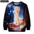 SexeMara 2017 Осень Cat Galaxy 3D Печать Толстовка Животных Harajuku Творческий Каваи Панк Теплый Мода Пуловер Sudaderas G191