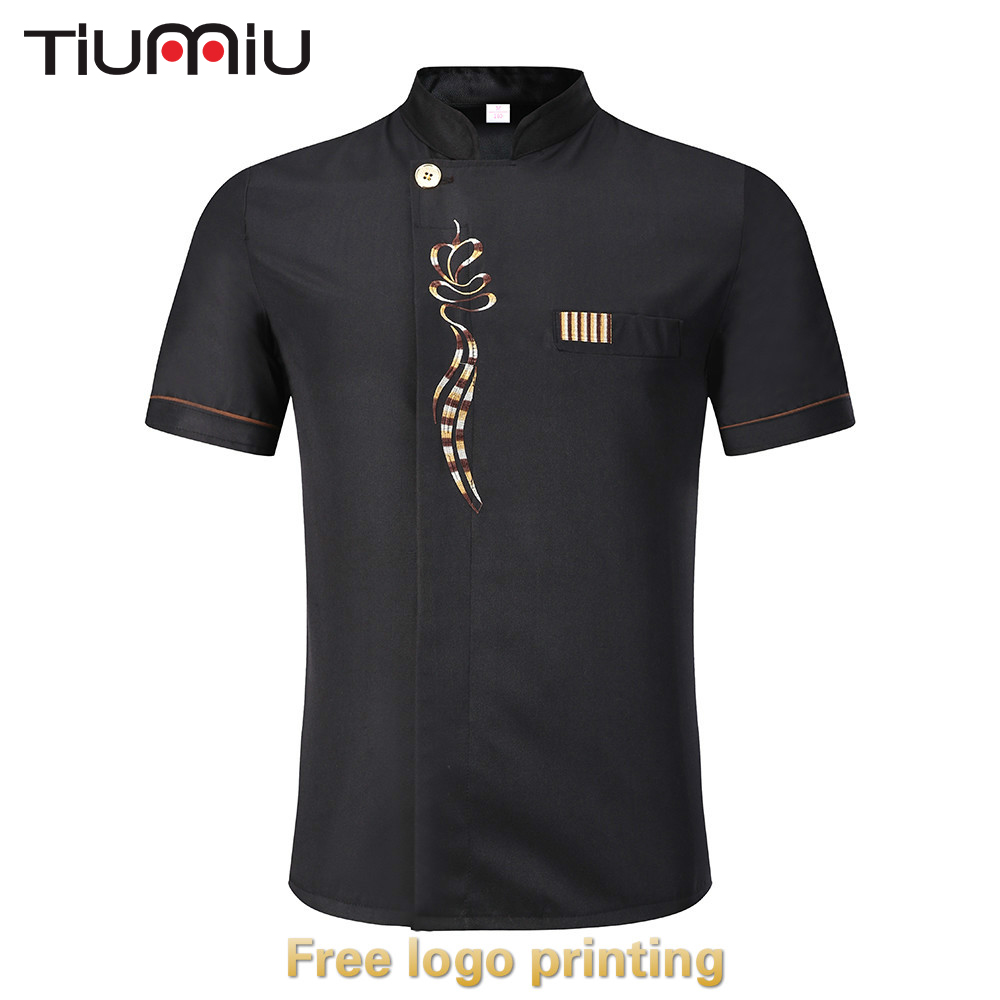 Free Logo Printing 14Colors Chef Jacket Short Sleeve Kitchen Cook Restaurant Uniform Food Service Bakery Barbershop Unisex Shirt