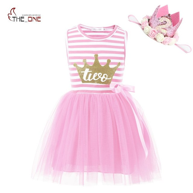 67b2aa30e2ad MUABABY Baby Girls Birthday Dresses Summer Princess Glitter Crown 2 Years  Old Cotton Strip Tutu Dress Toddler Kids Party Clothes