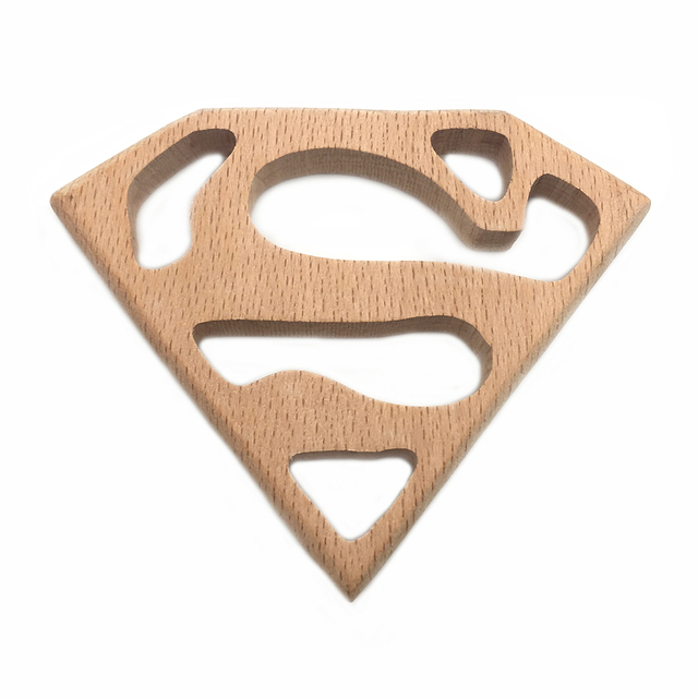 Handmade Wooden Organic Safe Baby Teether Superman Pendent Organic Natural Beech Wooden Animal Toy DIY Jewelry Making Accories Infant (3-12 months) Shop by Age Teethers & Rattlers Toddler (1-3 years)