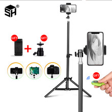 1/4 Screw Head Universal Portable Aluminum Stand Mount Digital Camera Tripod For Phone With Bluetooth Remote Control Selfie(China)