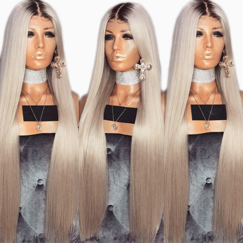 DLME Ash Blonde Wig 26 inches Long Straight Glueless Synthetic Lace Front Wig Heat Resistant Ombre Wigs for Black Women ...