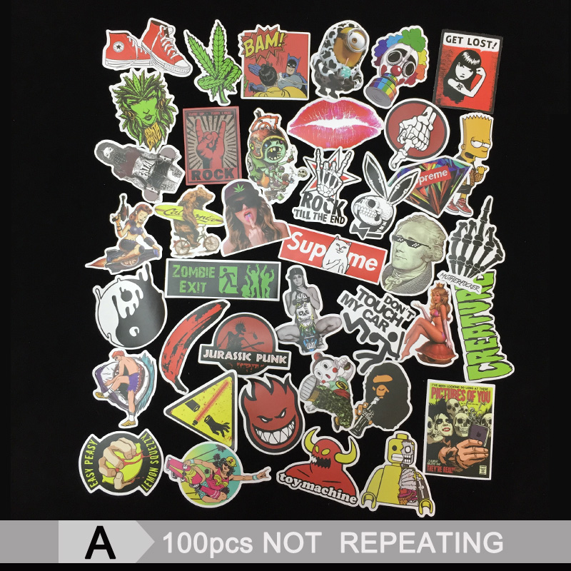 100pcs Mixed funny Stickers Graffiti Sticker for Kid DIY Skateboard Laptop Luggage Phone Car Bicycle Waterproof Stickers