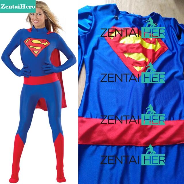 Zentai Герой Супермен унисекс костюм кожи лайкра спандекс комбинезон  Супергерл Zentai боди Хэллоуин Детский костюм для d1a8ca899a48c