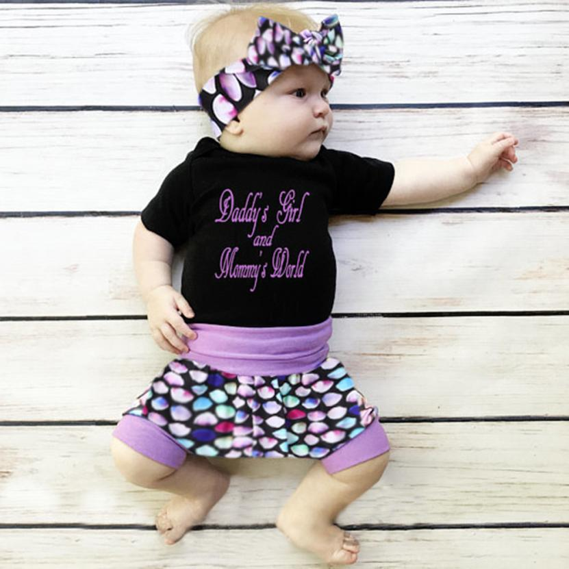Unisex Sets 3Pcs Toddler Kids Baby Girls Letter Romper+Shorts+Headband Outfits Clothe Baby Clothes 18Jun26