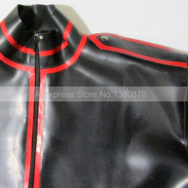 Black and Red Trims Latex ManTop Shirt Rubber Long Sleeves Male Teddies Bodysuit Zentai with Front Zip S LSM012 - 3