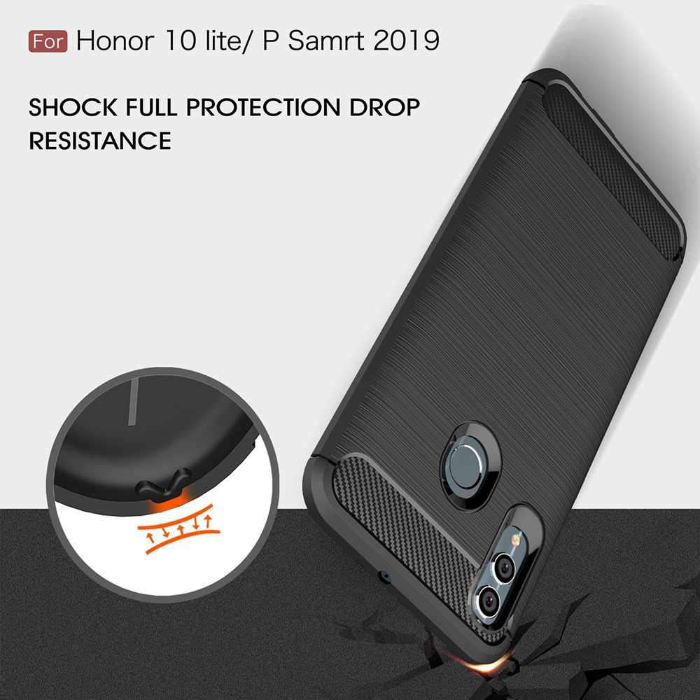 KEYSION Phone Case for Huawei P Smart 2019 Carbon Fiber Soft TPU Silicone Brushed Anti-knock Back Cover for Honor 10 Lite