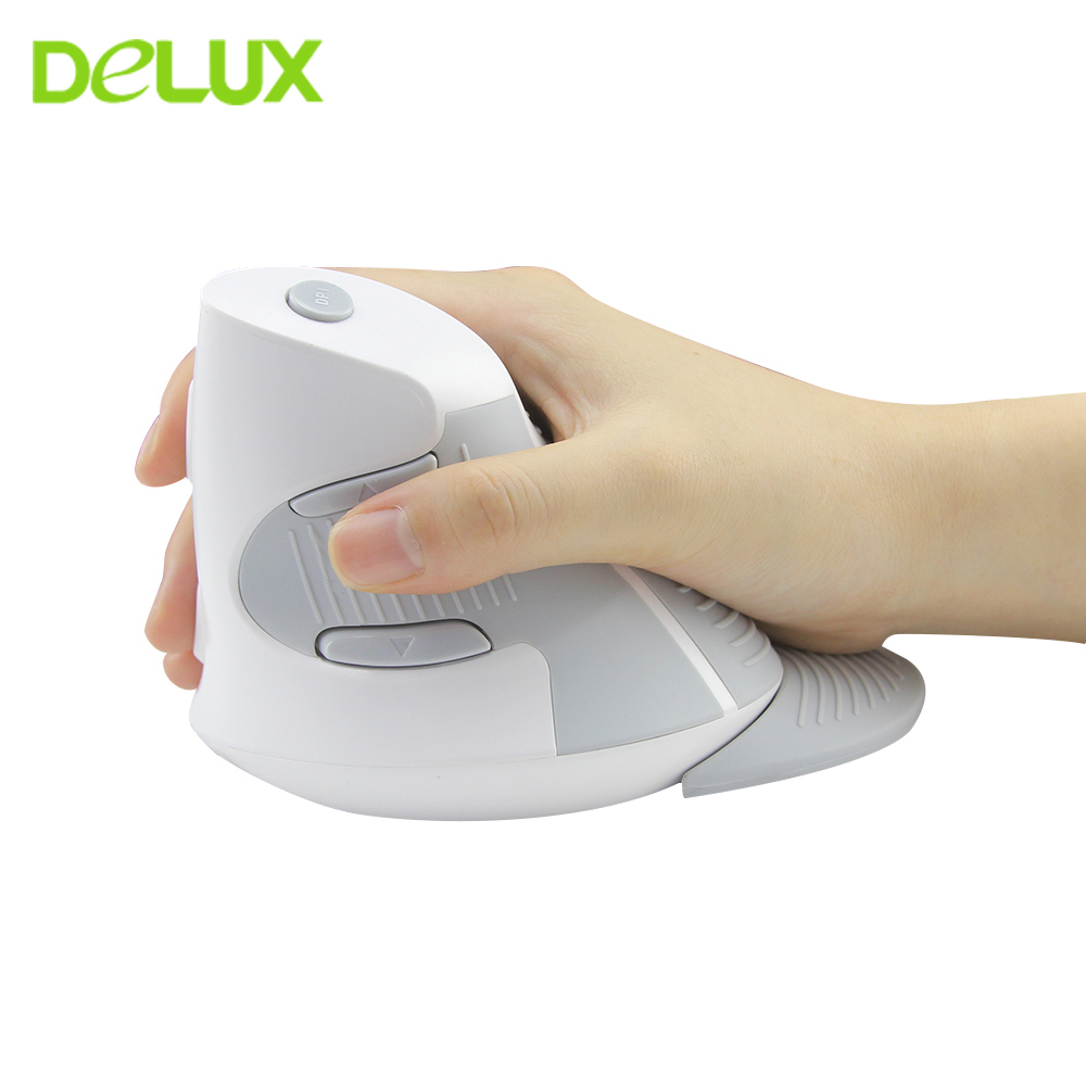 Delux M618 Ergonomic Vertical Wireless Mouse Healthy Computer Gaming Mice 1600DPI USB Optical 5 Buttons White Mause For Laptop