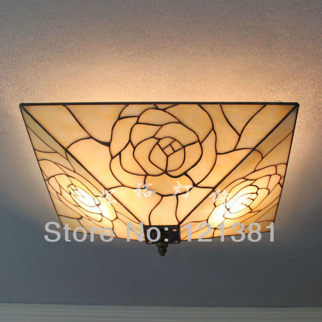 Mission style tiffany rose ceiling lamp stained glass lampshade mission style tiffany rose ceiling lamp stained glass lampshade handcrafted unique design lighting fixtures 40cm wide aloadofball Choice Image