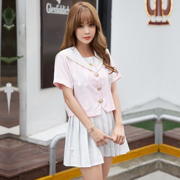 e08a09464c Japón Corea moda School Girl Lolita uniforme Rosa corto largo Top + falda  blanca S-2XL