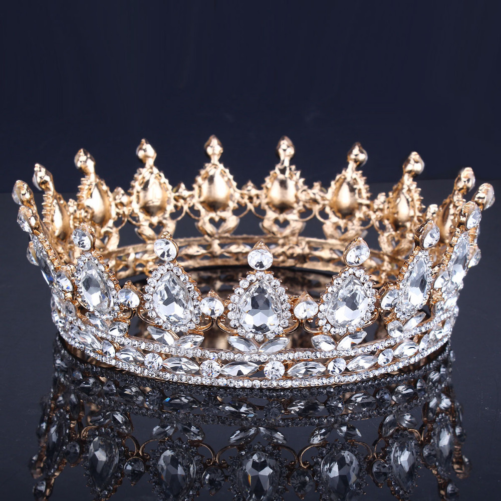 Luxury Vintage Emas Pernikahan Crown Alloy Bridal Tiara Baroque Ratu Raja Mahkota Emas Warna Berlian Imitasi Tiara Crown