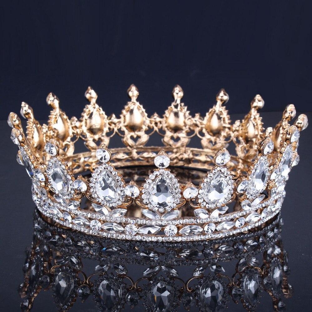 Luxus Vintage Gold Hochzeit Crown Legierung Braut Tiara Barock Königin König Crown Gold Farbe Strass Tiara Krone