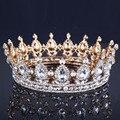 Rainha Barroco de luxo Liga Nupcial Tiara Coroa Do Casamento Do Ouro Do Vintage banhado a ouro rhinestone da tiara Da Coroa do Rei