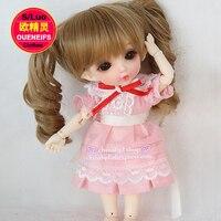 OUENEIFS trasporto libero, rosa a pieghe gonne con una cintura bianca, in estate, 1/8 bjd sd vestiti per le bambole, no bambole e parrucche YF8 a 11