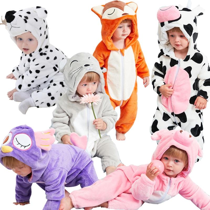 Детский теплый флисовый комбинезон, зимний комбинезон с капюшоном и изображением животных из мультфильмов, лисы, молока, коровы, лисы, корал...