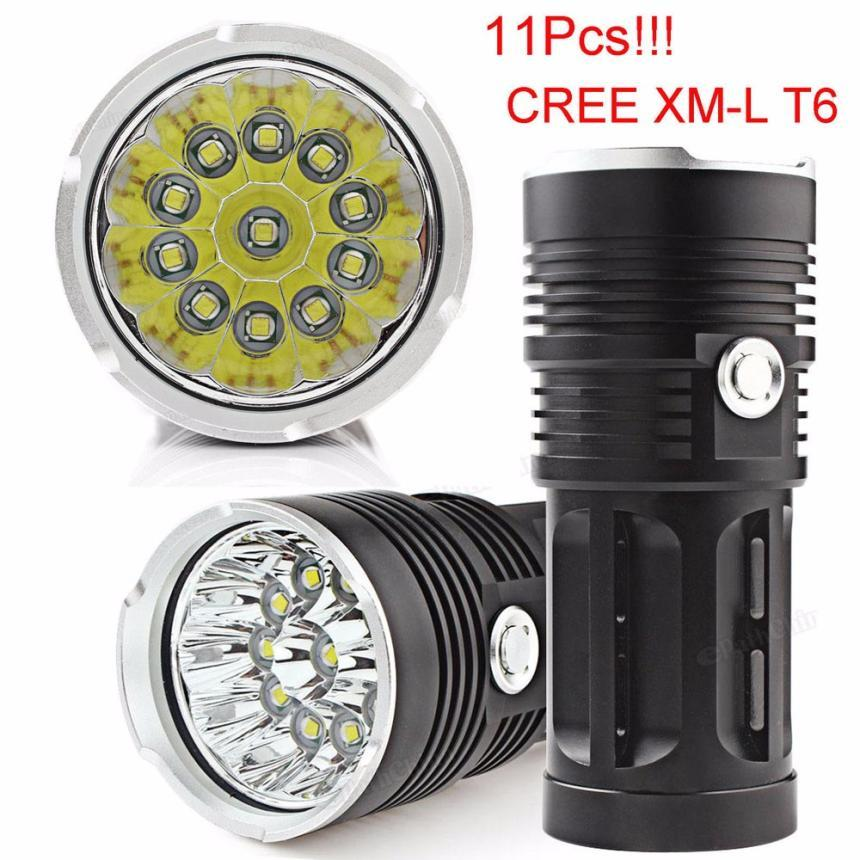 High Power 28000LM 11 x CREE XM-L T6 LED Hunting Flashlight 4x18650 Lamp Torch Bicycle Outdoor LED Flashlight For Bike Sport P40 3800 lumens cree xm l t6 5 modes led tactical flashlight torch waterproof lamp torch hunting flash light lantern for camping z93