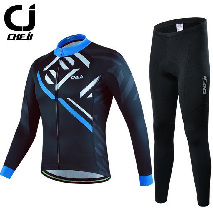 CHEJI Cycling Jersey Long Sleeve Pants Set Men's Cycling Clothing Long Kit Black
