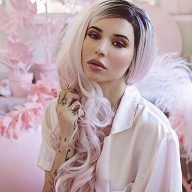 ФОТО Princess cute wig pink color natural synthetic lace front wig ombre black to pink light two tones trendy long wavy synthetic wig