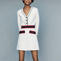 high quality designer runway autumn winter tweed wool dresses vestidos patchwork slim mini dress white women dress Q056