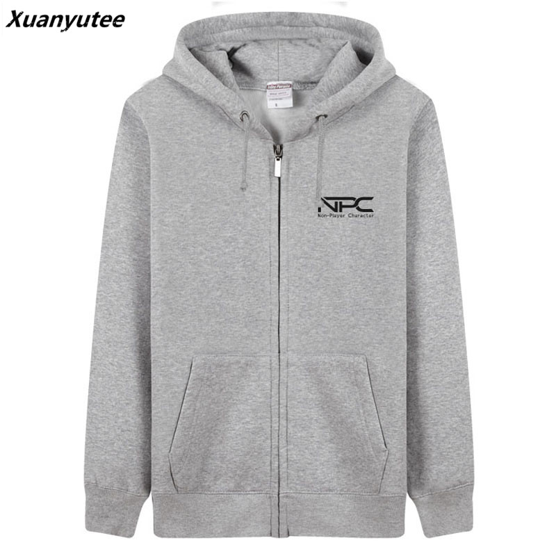 Xuanyutee NPC Non Player Character Game Fans Men Hoodies Cotton Fleece Casual 3XL Zipper Up O-neck Full Sleeve Sweat Homme Blue