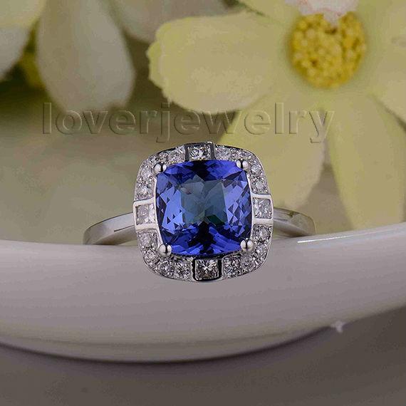 Romantic Cushion 8x8mm 14Kt White Gold Natural Diamond Tanzanite Ring,Engagement Tanzanite Ring 585 White Gold SR0072