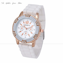 new 2016 Relogio Feminino Reloj Mujer Women watches Rose Gold Chronograph Silicone with Crystal Rhinestones Bezel