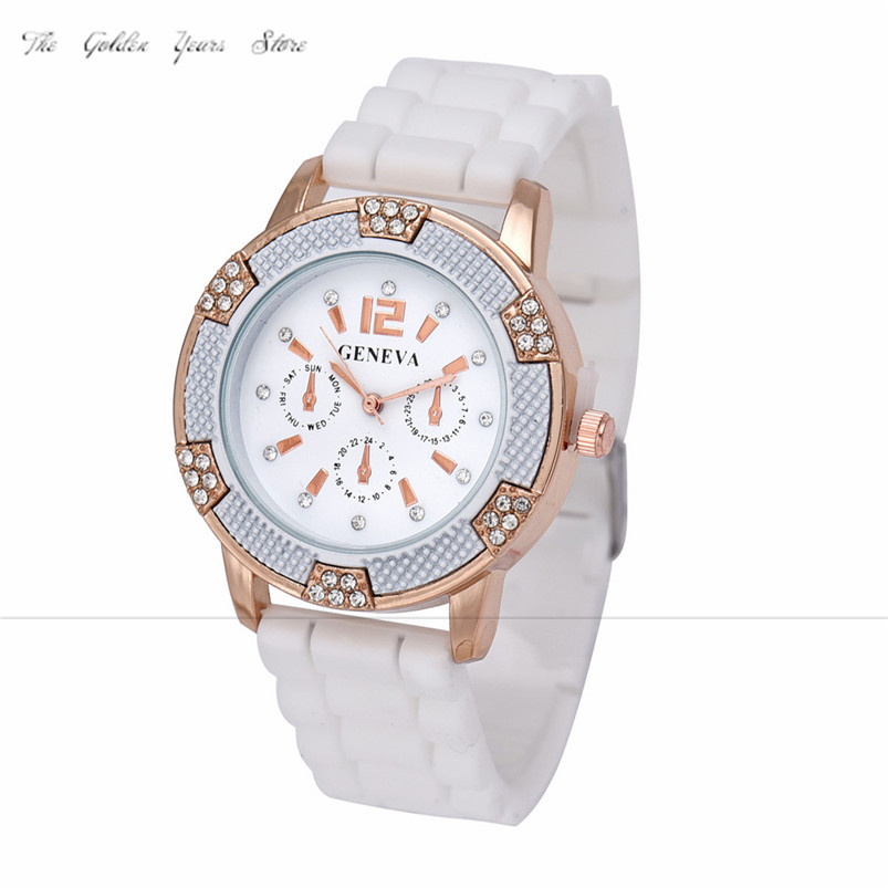 new 2017 Relogio Feminino Reloj Mujer Women watches Rose Gold Chronograph Silicone with Crystal Rhinestones Bezel