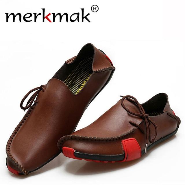 Merkmak Мужчины Обувь Повседневная Из Натуральной Кожи Скольжения На Мокасины Мокасины Квартиры Sapatos Masculino Удобные Большой Размер 39-47 обувь
