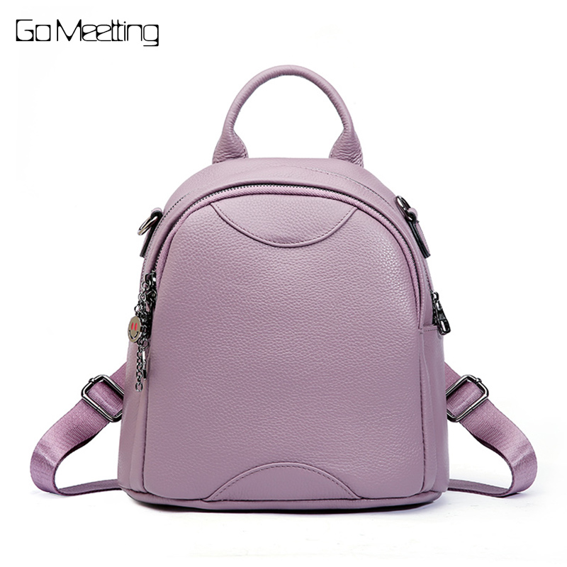Women Backpack High Quality Genuine Leather Mochila Escolar School Bags For Teenagers Girls Top-handle Backpacks Herald Fashion women backpack high quality pu leather mochila escolar school bags for teenagers girls top handle backpacks herald fashion page 5