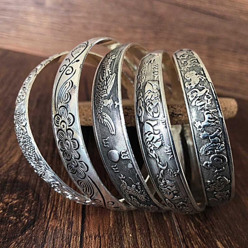 בציר טיבטי קאף צמיד מגולף פתוח רחב צמיד תכשיטים עתיק כסף בוהמי צמיד לנשים גברים רטרו אופנה חדש