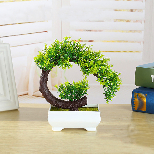 6364cce1b877 New Creative Plastic Flower Bonsai Tree Plant Miniature Pot Culture Artificial  Tree For Office Desk Home Living Room Decorative