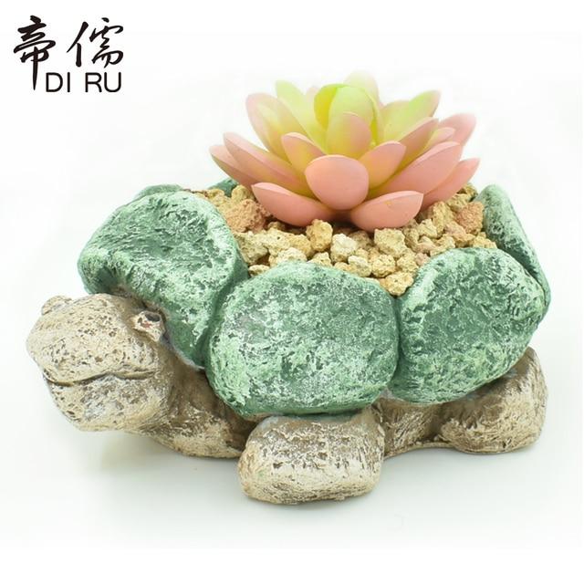 Oloey Succulent Plant Flower Pot Little Stone Turtle Garden Flowerpot Lithops Cute Animal Cement Home Desktop