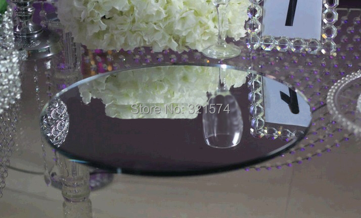 Wholesale 12pcs/lot Round Glass Table Mirrors Base For Wedding And Party  Centerpieces 40*