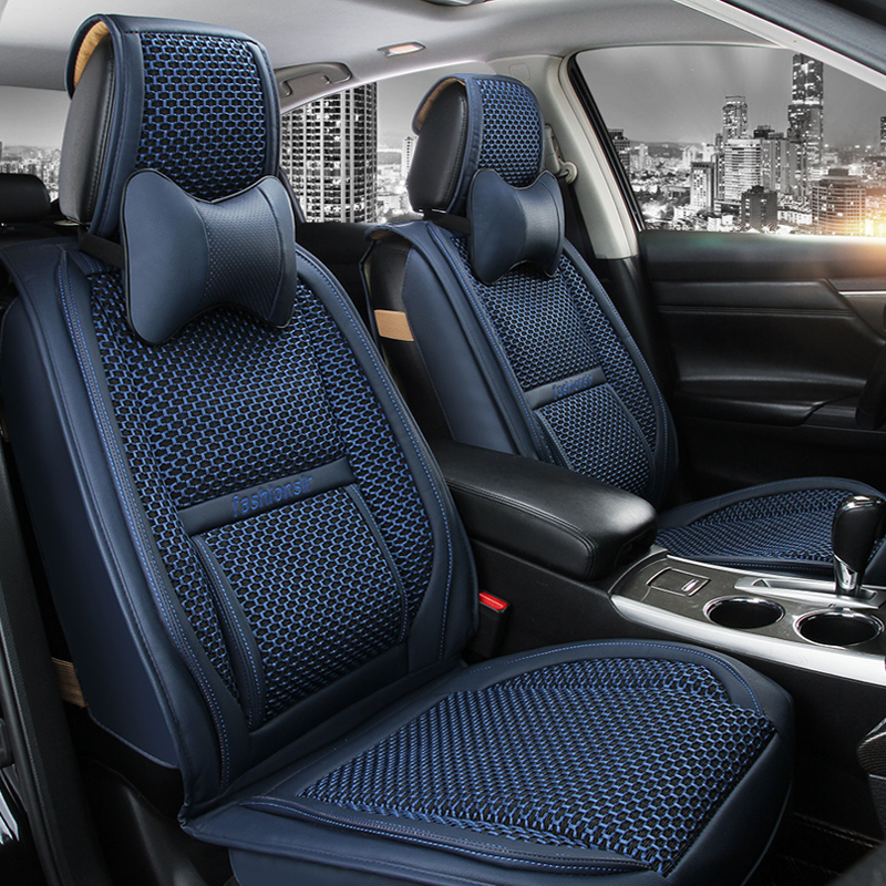 OUMANU Car Seat cover (ice silk+leather) car seat cushion for HONDA Civic Accord Fit Element Freed Life Zest