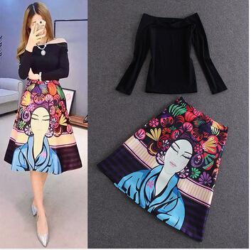 High Street Designer Clothing Set Women's High Quality Black Slash Collar Blouse +2 piece Colorful Cartoon Printed Skirt Set