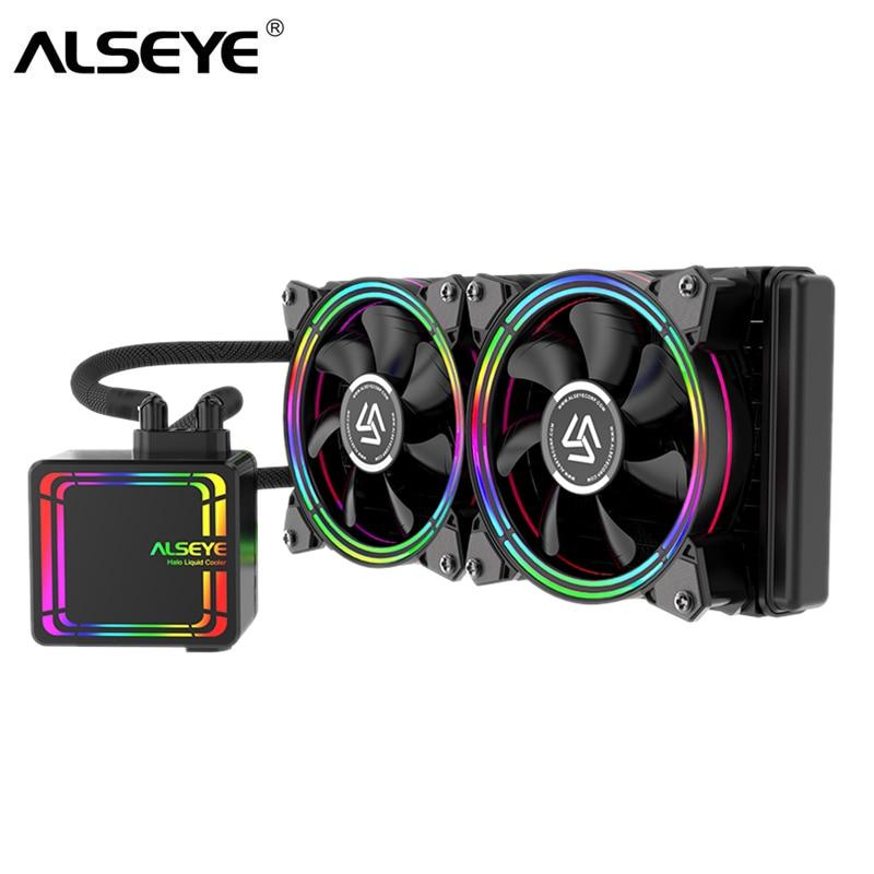 ALSEYE H240 CPU Cooler Ventilador De Refrigeração De Água 120 milímetros Ventoinha PWM RGB Water Cooler para LGA 775/115x/ 1366/2011/AM2/AM3/AM4