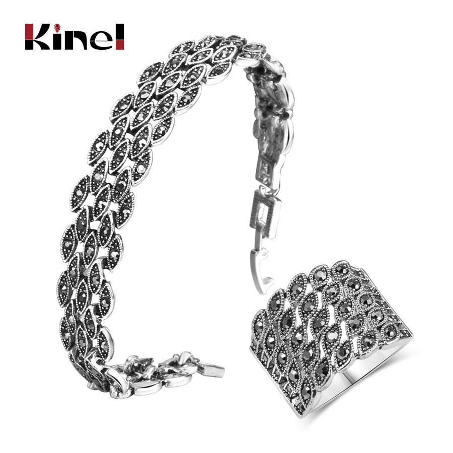 Kinel Hot Bright Black Crystal Bracelet Ring For Women Antique Silver Color Little Eye Bracelets Charm Vintage Jewelry Sets все цены