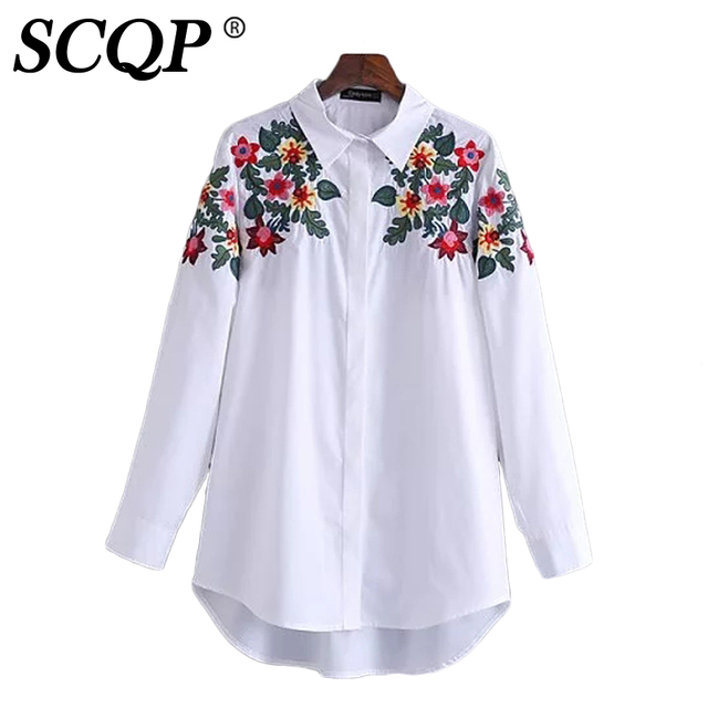 SCQP Floral Embroidery White Lapel Womens Tops And Blouses Ladies Long Sleeve Office Blouse Autumn Casual Fashion Shirt Women