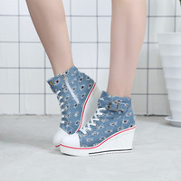 Womens Denim Wedge High Heels Blue Casual Lace Up Shoes High Top Plus SZ a9