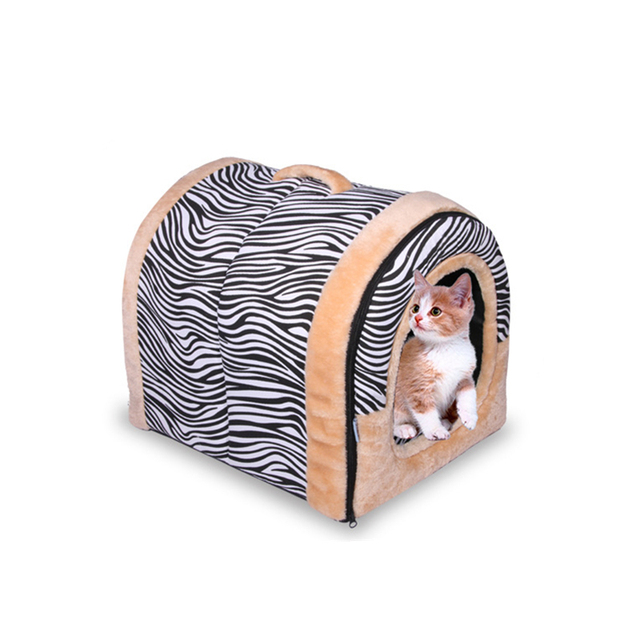 3 Size Striped Dot Kennel Dual Use Soft Plush Dog Bed Dog Kennel Pet House For Puppy Dogs Cat Small Animals Mat Bed