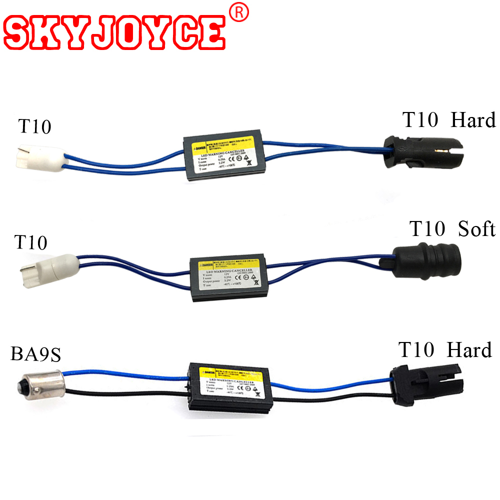 SKYJOYCE 2pcs 12V decoder LED Warning Canceller led Decoder T10 W5W NO error OCB Load Resistor canbus canceller t10 canbus led fsylx 2pc car h7 led warning canceller harness resistor 50w h7 decoder hid led headlight fog lamps h7 led load resistor decoder